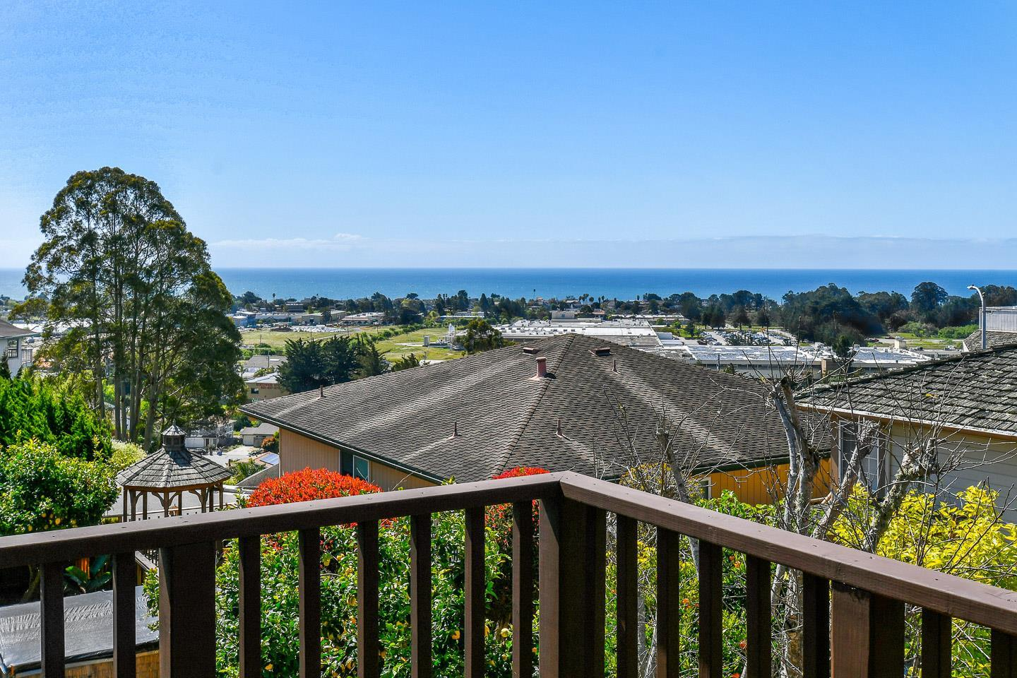Fabulous ocean views from this sought after Upper Westside neighborhood. Walk out your front door to the Westside Farmers market and restaurants. Easy access to beaches and UCSC. This reverse floor plan home is designed to provide an ocean view from every single room upstairs, including the Master Bedroom!   With 4 spacious bedrooms and 3 full bathrooms, you'll find 2 bedrooms/2 bathrooms upstairs, and 2 bedrooms/ 1 bathroom downstairs.  Bright, airy, open and spacious and perfect for a large family. The huge living room flows into the dining room and kitchen  perfect for entertaining. Freshly painted interior & exterior, freshly resurfaced tubs and shower, and the upper decks have been replaced to take advantage of the views.  Full two-car garage, large inside laundry room, large closets and a built-in buffet provide loads of storage space.  Low maintenance yards with mature plants make this home ready to move in.  $481/Square foot for an Ocean View Westside Home. Don't miss this one!