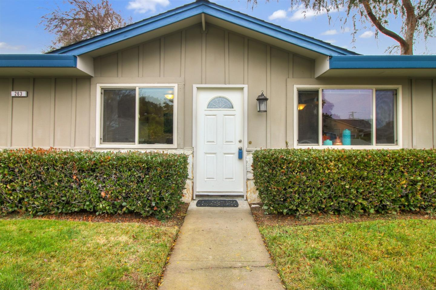 Convenient to downtown Campbell-Summer Concerts in the Park-Incredible Farmers Market-Hwy 85 & 880-Los Gatos Creek Trail-Light Rail-One story condo-Tiled kitchen with breakfast bar opens to the living room & front windows overlook the green lawn-gas forced air heat & AC-Community pool & grounds-Carport with extra storage-coin operated laundry room-