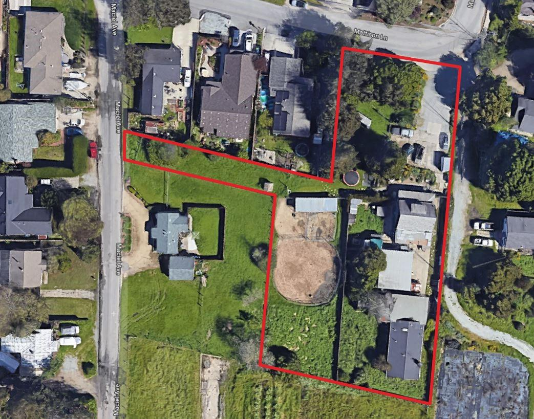 TWO PARCELS!! TWO HOUSES!! The property is being sold with an adjoining parcel which has the same address. Both parcels are being sold as one transaction. The vacant parcel (MLS 81736114) is approximately 25,962 square feet, APN 029-391-05.  Both parcels exceed the parcel minimum required by zoning, it may be feasible to subdivide one or both parcels. Parcel 029-391-04 has frontage on both Mattison Lane and Maciel Avenue, which could prove helpful for future parcel divisions or development. The parcels are zoned R-1-6. Both dwellings were built prior to County requirements for building permits (1956). There are two houses on the property. Both homes are on one of the two properties. The front house has 3 bedrooms and 1 bath, with approximately 1,500 square feet. The back house is 4 bedrooms and 2 baths with approximately 1,600 square feet. Great Opportunity!