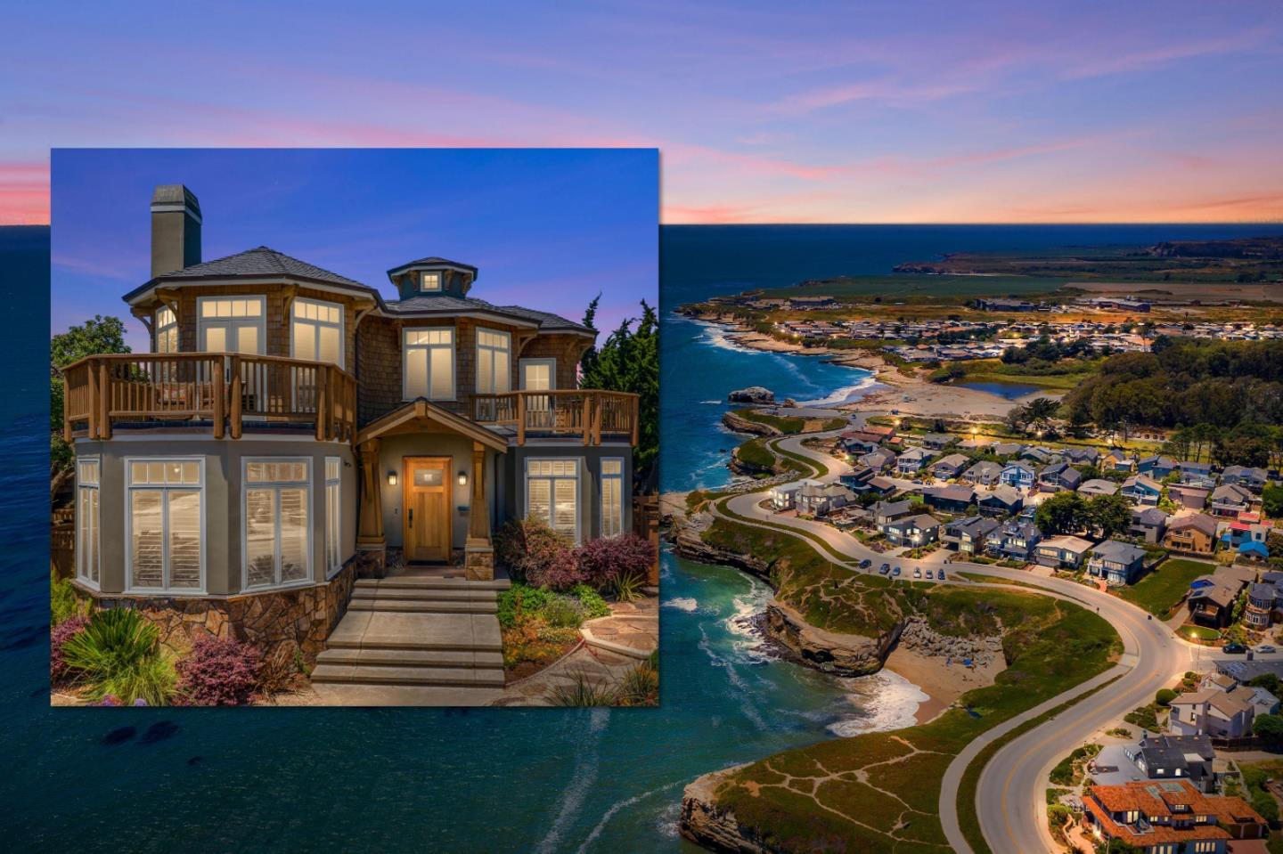 Oceanfront and restored to new in 2018, this stunning home built by Meschi Construction in 2008 is truly one of a kind. 103 Auburn Avenue is an architectural masterpiece, an ode to classic elegance and a nautical craftsman aesthetic. Expansive windows offer sweeping ocean views and sparkling lights of the expansive Monterey Bay. Experience a daily display of sea life, from otters, seals, dolphins and humpback whales, from the luxury of this unique home. Bordered by the Santa Cruz Municipal Wharf and Natural Bridges State Beach, and fronted by the Monterey Bay, West Cliff is an oasis within the city.