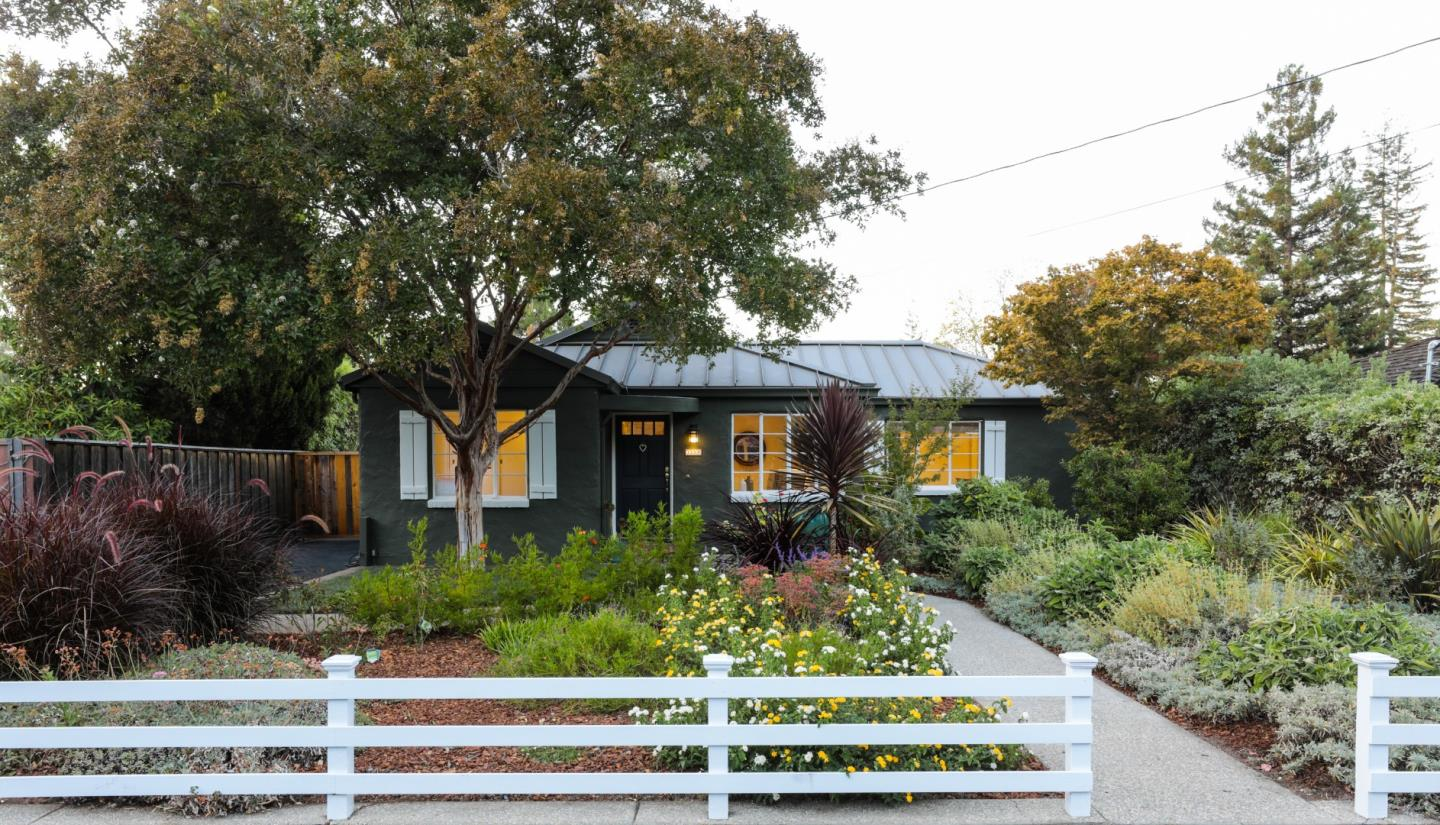 Gracious gardens, California native landscaping, and mature trees welcome you to this charming bungalow in prime South Los Altos.  Beautifully remodeled kitchen and butlers pantry/laundry featuring top of the line appliances, granite countertops, and custom cabinetry.  Sunny, spacious bedrooms with ample closet and storage space.  Dining room opens through French doors to an inviting deck and a spacious backyard that is an entertainers dream: flagstone patio, wood bbq, built-in benches, raised vegetable beds, fruit trees, and multiple seating areas. Fantastic neighborhood offers top ranked public schools and is convenient to technology companies, El Camino Hospital, parks, shops, restaurants, and major commuter routes.