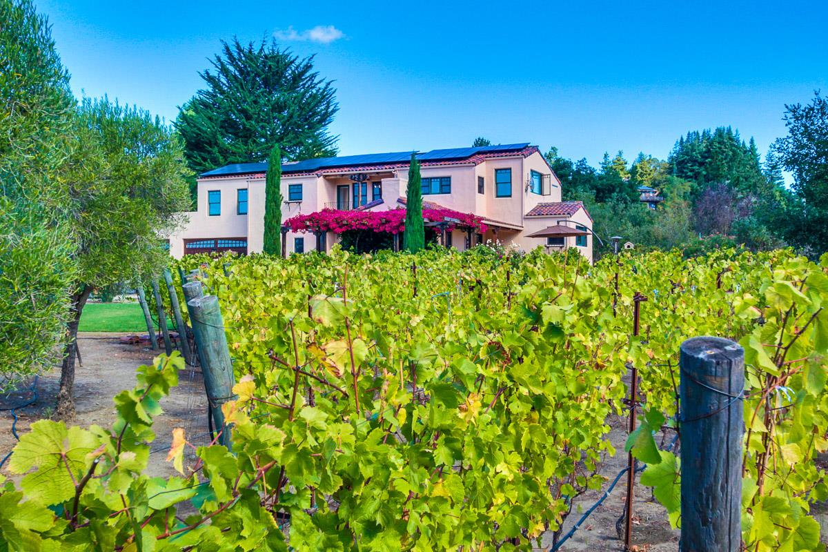 OPEN Thurs 9:30-5:30pm+Sat 2-5pm+Sun 12-4pm.  A grand Mediterranean estate awaits you just beyond ornate iron gates & stucco privacy walls. This is truly a magical 2.6 acre parcel of level land with full sun exposure. Imagine your own Pinot Noir vineyard, rolling expanses of lawn, a view balcony, private patios, lush landscaping, fruit bearing trees and raised garden beds with watering system. This magical villa is your own private getaway at the end of a long day, or an ideal place to work from home. This estate boasts rare end of the road gated privacy and serene tranquil mountain valley views. Relax in the hammock or enjoy your glass of wine under the grand fuchsia bougainvillea. An ideal commute location centrally located between Los Gatos, Scotts Valley, Santa Cruz and Capitola. Happy Valley School is top rated. Welcome Home to Paradise! Do not use GPS as it will take you down a dirt road. Take Vine Hill Rd to Jarvis Rd to Rider Ridge Rd.