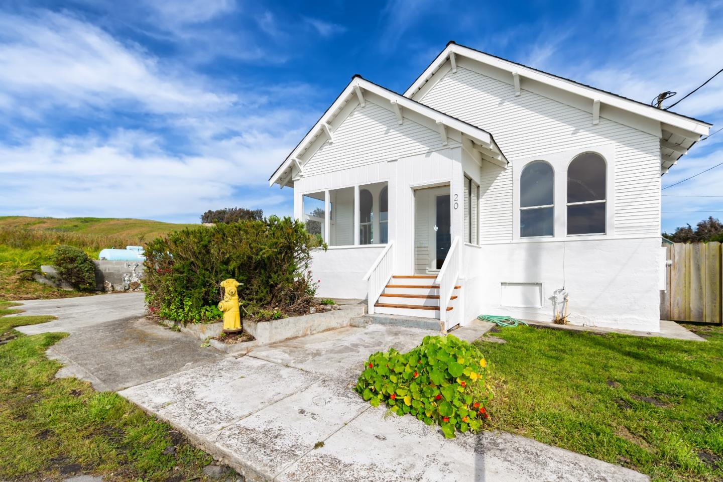 Beautiful Ocean View  home in Historic Davenport, the best little beach town on the coast!  End of the road location,Surrounded by protected open space,  rebuilt classic craftsman style home, eller updates include include high efficiency central heat, newer roof, new electrical, new plumbing, new Fir doors, new clear fir trim, refinished original fir floors, new insulation, new sheetrock, dual paned windows, new bath room, outdoor deck and shower.  Lots of garden space, potential for ADU, plenty of parking, great views in all directions, this is a prime location, great elementary school and a wonderful community.  Must see to fully appreciate this classic beach home on one of the most beautiful and peaceful neighborhoods on the California coast.