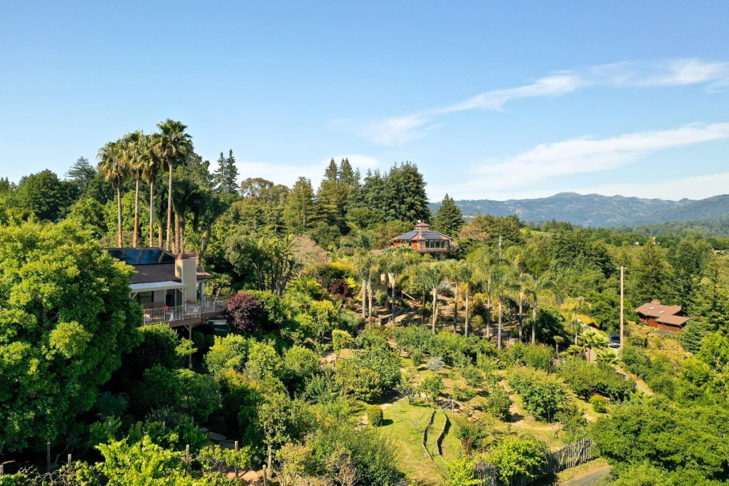 """You can't get much closer to perfection than top of the world views, 2.9 acres of south-facing gardens, a world-class observatory, and meticulously remodeled home. """"Casa de Palmas"""", named for the rare and exotic palms throughout the property and lining the gated driveway, is a horticultural oasis of subtropicals, ornamentals, fruits, veggies, flowers and ponds. Sunset Zone 16 ranks among the best in the world for gardeners, as evidenced by the numerous varieties of apples, pears, citrus, cherimoyas, macadamias, and much more. Panoramic views stretch to the ocean w/ample deck and patio space to enjoy it. One-level design, w/walls of windows and high ceilings, generous game room, garage and storage downstairs. Meticulous attention to detail and quality of materials everywhere you turn. Detached building w/retractable roof has endless possibilities for hobby/workspace. A peaceful oasis, midway between Los Gatos and Santa Cruz, 10 mins off Hwy 17, in top-rated Happy Valley School District"""