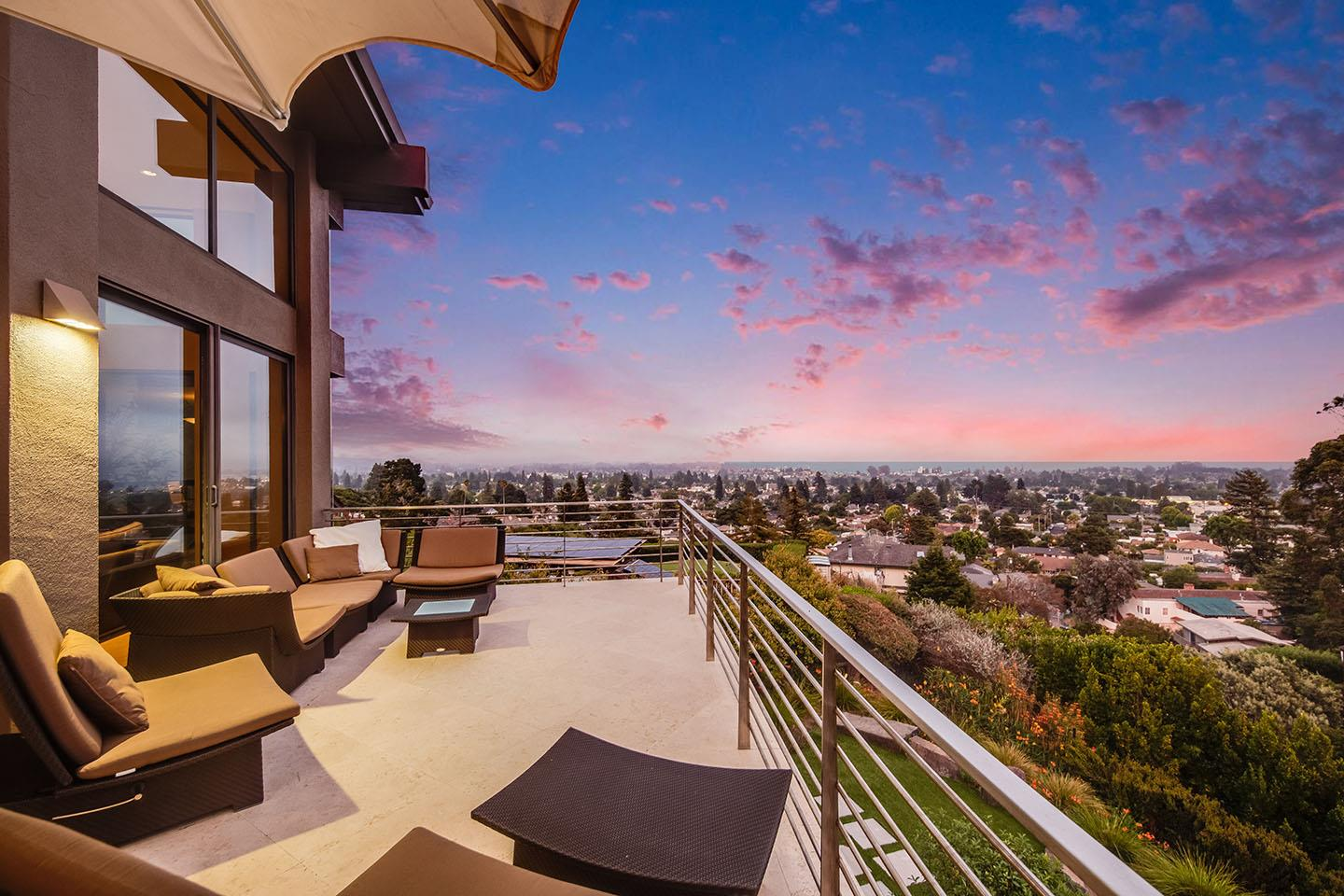 This magnificent, one-of-a-kind, custom masterpiece was built in 2007 and has been impeccably maintained in pristine condition. Renowned architects, Gary Garmann + Thatcher Thompson, designed this awe-inspiring abode. Builder, Jon Badeaux, added a level of quality rarely seen in construction today. This ridge top oasis in the sought after upper West Side is set back from the street, hidden in a private enclave which makes it a rare offering. This spectacular home with sweeping views of the bay and city lights is truly impressive & perfect for entertaining.  The many private spaces are ideal for tranquil & comfortable living. Some of the many remarkable features include, but are not limited to, a cherrywood elevator, limestone floors throughout much of the home, walls of windows showcasing breathtaking views, high ceilings, 9' solid wood doors, top of the line kitchen amenities, a huge pantry, radiant heat and much more. See the home brochure for a complete list of special features.