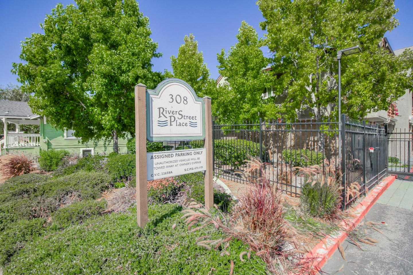 Super cute 2 BR penthouse condo in close proximity for Silicon Valley Commute. Enjoy city lights, mountain views & updates galore in this bright & cheery single level end unit set back from the street. South facing windows & slider w/newer double pane glass lead to private patio w/city views, while the northern windows look out to the beautiful SC mountains & Pogonip area. Kitchen has recently updated refrigerator, ceiling fan, light fixtures, newer appliances, granite counters, under mount sink & water filter. Gas FP in LR & custom blinds on all windows. Bathroom remodeled w/ Italian tile flooring, tub/shower surround, custom vanity w/ granite top & large mirror cabinet. Tandem 2-car garage for cars/storage plus a dedicated 3rd parking space! Complex is well situated & located close to Beach, downtown, shops, theaters, parks & restaurants. This gated complex is professionally managed w/elevator access, heated pool, picnic & BBQ area, plus gated access to the river/levee trail.