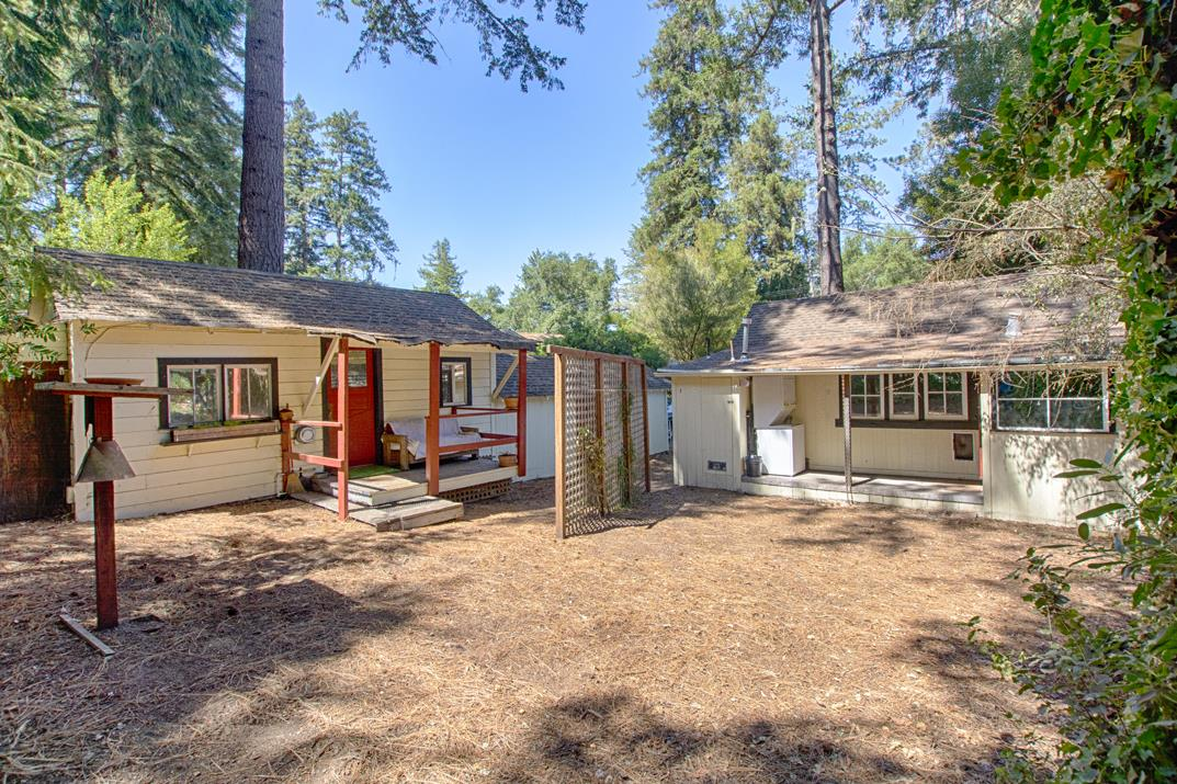Opportunity knocks!  Situated in beautiful Mount Hermon Park, this home and guest unit sit on a nice sunny, and flat parcel close to Mount Hermon amenities. This cutie has a quaint living room with gas stove, and covered porch area that simply needs your rocking chairs! There is also a guest unit and large storage spaces for your recreational equipment. Although a somewhat rustic property, this charmer has potential for investment, primary residence, or second home. The space available makes for an opportunity to design and bring your own upgrades!  Mount Hermon Park has options for residents to take advantage of summer swimming, boating, and outdoor adventure courses among the beautiful Redwoods. Great commute location!