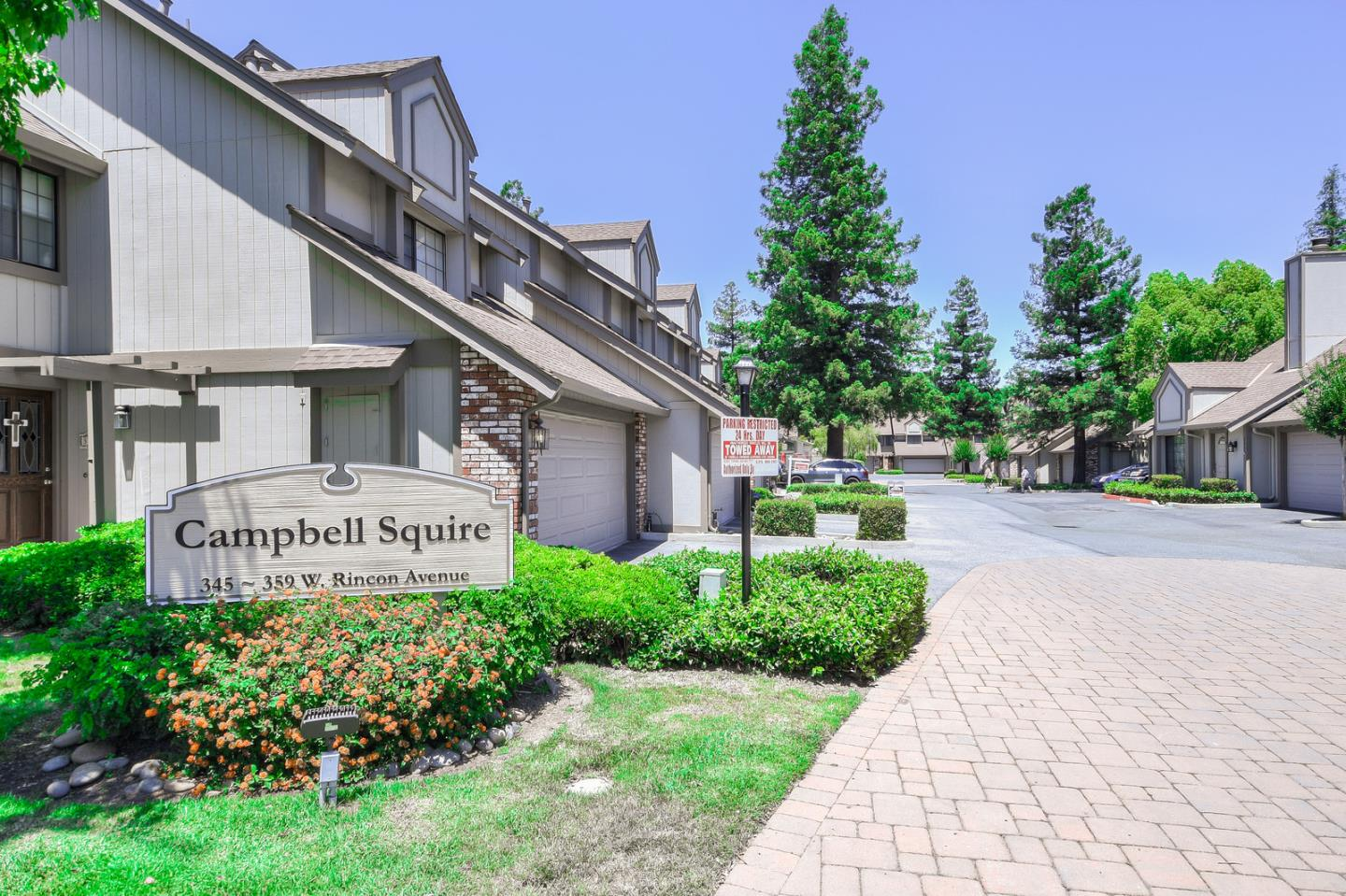 Due to weekend activity, an offer date has been set for Tuesday, Feb 18th at 2 pm. Campbell Squire is a gem of a complex w/ beautiful mature trees framing the pool, spa, & clubhouse common.  Downstairs, you'll find a remodeled kitchen with new quartz countertops & backsplash, updated appliances, recessed lighting.  Plantation shutters, inside laundry, fireplace to keep you toasty in the winter & beautiful private patio to entertain in the spring, summer & fall.  Upstairs, 3 LARGE bedrooms...you'll love the master bedroom w/vaulted ceilings, a remodeled master bathroom, walk-in closet and....wait for it...A MASTER BEDROOM FIREPLACE!  Need an office?  Children's play area?  A place to invent the next big thing?... The area off the upstairs hall is made to order. Commuters can hop on San Tomas in a JIF.  Like what Downtown Campbell has to offer?  Well, downtown Campbell is just a short stroll to the farmer's market, restaurants, and nightlife! 2 car garage PLUS permitted parking space!