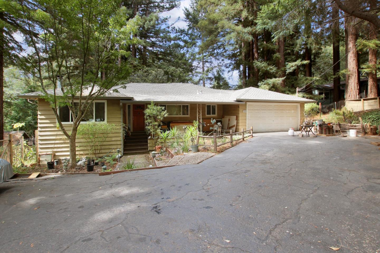 Beverly Hills of Boulder Creek! Classic mid century contemporary nestled up Highland splashed in sunshine and shade, with plenty of room to create gardens and more. Well built and some updates! Extra large living room with wood burning fireplace insert, views and privacy. large bedrooms. Large two car garage with plenty of parking in the driveway. Opportunities below an unfinished basement area with plenty storage on a concrete floor and standing headroom! Perhaps a man or woman cave, create living space for family & friends, make a workspace or home theatre! Spacious back yard with room to entertain and play. This property provides great utility for those seeking outside environments room to create and entertain. This very charming home and setting in one of the best mountain neighborhoods in Boulder Creek just 5 minutes from town. All of the convenience of being near to town but with the privacy. This is a move in ready home ready for a new owners to add sparkle!