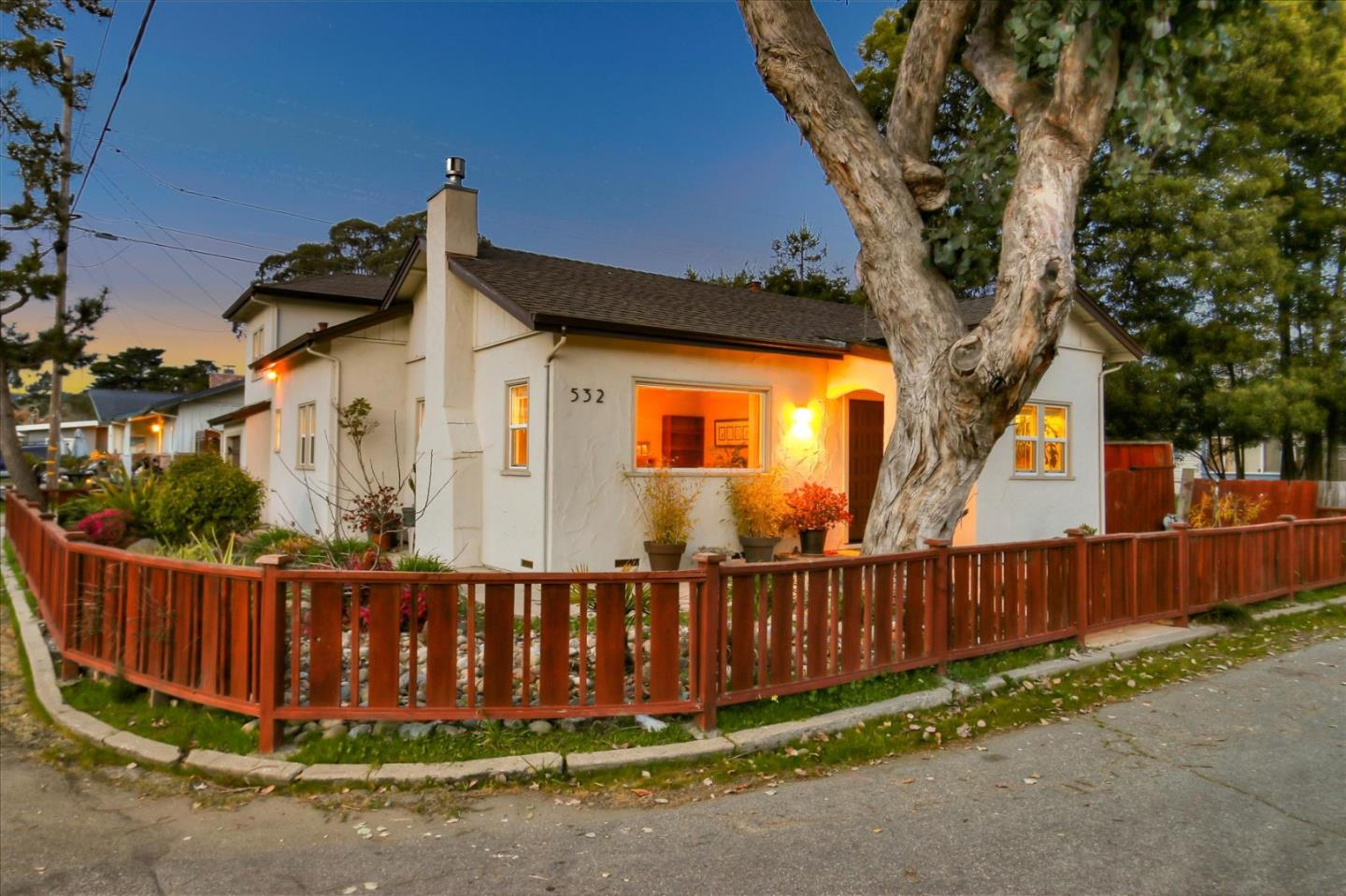 532 Cedar Street, Aptos, is located just a few blocks from Seacliff State Beach. This 2 bedroom, 2 bathroom, 1,354 SqFt home was remodeled and updated in 2011. The master bedroom is located on the ground floor. Situated on a quiet corner, the 4,791 Sq Ft lot is big enough for nicely landscaped gardens and a sunny back yard. Updates include wood, carpet and tile floors downstairs, remodeled kitchen and bathrooms, custom cabinets, granite counters, double pane windows, indoor laundry area, water softener, and an on demand hot water heater.
