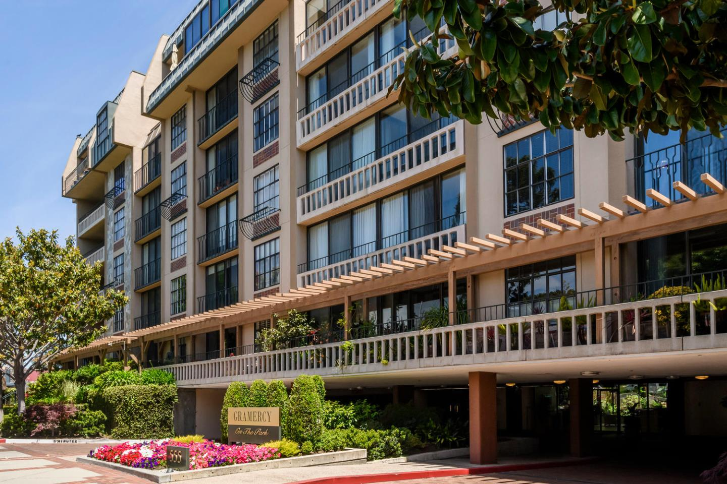 Unique and rarely available 3BR/3BA Penthouse home in coveted Gramercy on the Park. Formal entry opens to both Dining Room and office/3rd BR suite. Large kitchen, featuring skylights, granite countertop, tile floor & stainless steel appliances is adjacent to generously sized Living Room, which features built-in cabinetry, and opens through sliding glass doors to expansive patio with 180-degree views of the hills and the bay. Large master suite features walk-in closet, additional closet, and spa-like master bath adorned with stone tile, and featuring dual vanity, soaking tub, stall shower and abundance of storage. Additional large guest bedroom suite. Gramercy on the park offers unparalleled amenities including door attendant, indoor pool, and fitness facility. This unit comes with 2 parking spaces.