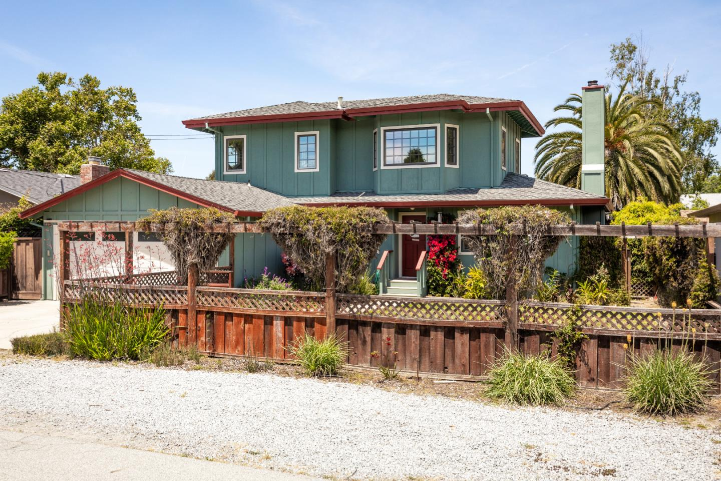 Wonderful solar home on a super quiet cul-de-sac and steps to lovely Coffee Lane Park. This Mid-County location is secret to most folks. Stroll to Trader Joe's, restaurants and coffee. Close to beaches and favorite surf spots. This updated home is light and airy with marble counters and fireplace, multiple decks and patio areas, fenced yards, raised bed gardens, flagstone walkways. The majority of living space is on the ground floor. Upstairs is a large addition that can be used as a 4th bedroom  or family room with sunny window seat and leads to a big covered deck with sunset views. Solar System is owned and goes with the house - not leased.