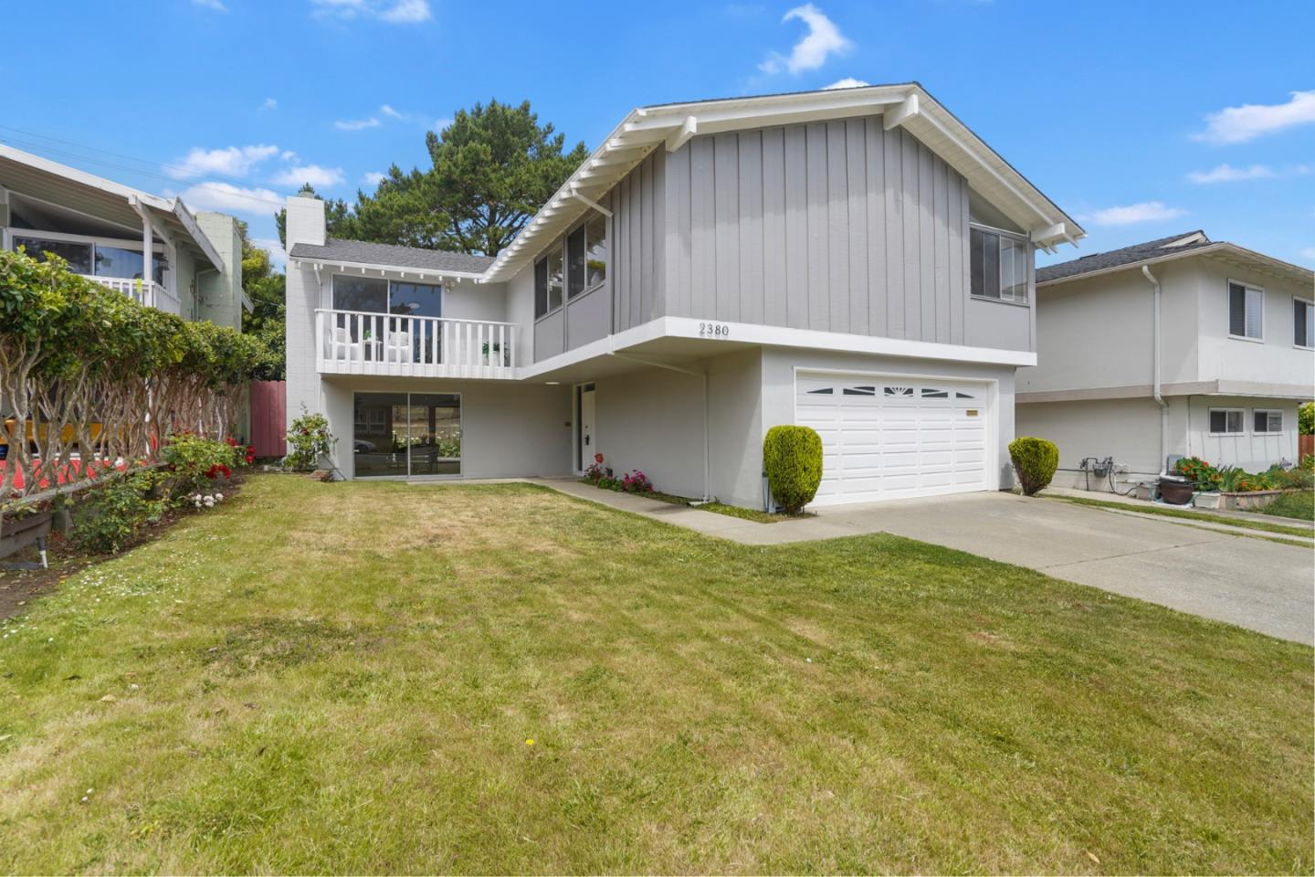 Virtual OH 5/31 11:00AM https://bit.ly/2ZOeVE7 Welcome to 2380 Olympic Dr! Located in the desirable Westborough neighborhood, this 2-story SFH is updated with modern styles in mind. Once you step in, you will feel how open the space is with vaulted ceilings; nice retreat for those work-from-home days. Brand new water-resistant laminate flooring downstairs and refinished HWD floors upstairs. New recessed lights and hanging chandeliers throughout the entire home to complement the natural lighting coming through the floor to ceiling windows. Downstairs has a sizable living room w. master bedroom & updated en-suite. Upstairs you will find a separate living & dining area; plenty of space for family gatherings. Eat-in kitchen w. quartz countertops & tiled backsplash. 2 spacious bedrooms w. a shared hallway bathroom and 1 master bedroom w. en-suite. Fresh exterior & interior paint. 2-car garage & separate laundry room. Short distance to Westborough Square. Drive just minutes to Highway I-280.