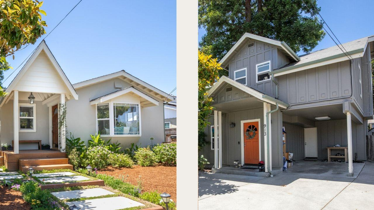 TWO 3 bed 2 full-bath homes on large 6,970 sq ft lot in the heart of Seabright! The 1208 sq ft single story front house is the quintessential California bungalow with beautifully redone floors, bathrooms, kitchen, forced air, new electrical/plumbing, & more. The two-story 1251 sq ft back house was built in 1991 & has a functional floorplan, forced air, & covered parking. The property has several landscaped outdoor spaces, 2 storage sheds, & ample parking. Perfectly located:1/2 mile walk to Seabright Beach, stone's throw away from the Harbor, two nearby parks (Frederick & Ocean View) & a short stroll to bars, restaurants, coffee shops & stores. The possibilities are endless - live/work in one house & rent the other, rent both, or use the property as a family compound. Located in one of Santa Cruz's favorite neighborhoods this property has a 99.9% occupancy rate & is move-in-ready!