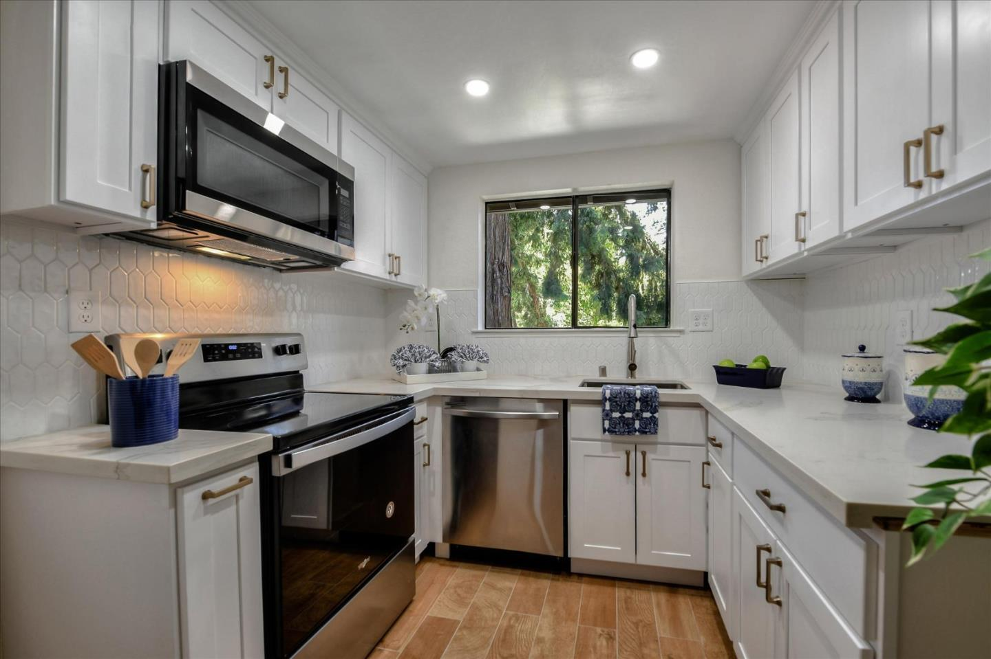 Located in the Heart of Silicon Valley, amazing Sunnyvale upper condo unit  with 822 sq. ft. of living space. The kitchen has been updated w/ white cabinets, quartz counters & full back splash, new sink & faucet.  You will love starting and ending your day in the spacious master bedroom with tons of natural light, newer carpet and ample closet space.  The bathroom has been tasteful remodeled showcasing a new dual vanity, quartz counters, sinks, new fixtures & faucets, new shower panel & toilet, SS medicine cabinet and new floor tiles. The living room opens to an generous size deck for outdoor entertainment.  Quiet complex with community swimming pool, spa and tennis courts and lots of parking in the complex, Close to several major High-Tech Cos including Apple, Google, LinkedIn, Microsoft,  and Sunnyvale Downtown. Easy access to Freeways 101, 237, 85, 280, Lawrence and Central expressways, and Cal-train station.