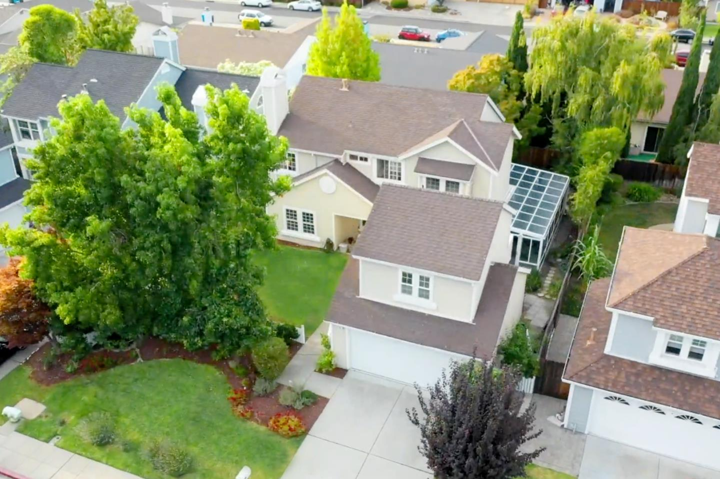 Charming luxury home w/ 3 bed 2.5 bath in the main house, plus a bonus 1 bed 1 bath ensuite, beautifully nestles on a tranquil street in desirable west Foster City! Entrance foyer opens to a spacious living room with a beautiful fireplace, vaulted ceilings and large dining room. Breathtakingly bright and airy large sunroom is equipped w/ full roller shades, perfect space to work from home, or an impressive wine tasting party room! Updated kitchen and a butler pantry, offering plenty of storage spaces. Upstairs are 3 spacious bedrooms & 2 newer updated baths. Private backyard surrounded by trees, flat open outdoor area perfect for entertaining. Bonus ensuite with private entry above the 2 car detached garage, perfect for guests or potential $1600+/- monthly income! Option to join the Port Royal Association, facilities include tennis courts, spa, pool and gym. Prime location close to great schools, hiking trails, shopping, dining and transportation! Welcome Home!