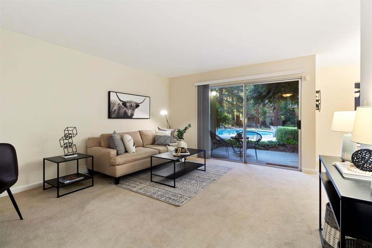 Welcome to paradiseliving within the highly desirable Cypress Point Lakes community! This recently remodeled one bed, one bath ground-level condo offers impressive amenities within an unbeatablelocation. Located just 2 blocks from esteemed downtown Mountain View, you're walking distance from restaurants, shops, Caltrain and Light Rail.Conveniently located near 101, 85, 237, Central Expressway, Google, Apple, Facebook, Intuit, LinkedIn and so much more!   Take advantage of this rare opportunity to find a ground-level unit with a private patio overlooking redwood trees, a pool and greenbelt to experience resort-style living in your home! Freshly painted with newer granite countertops, cabinets, stainless steel appliances, remodeled bath with custom tile surround and huge master closet.  This extremely quiet and private community features2 pools, a spa, tennis court, lakes, ponds, streams and a clubhouse.