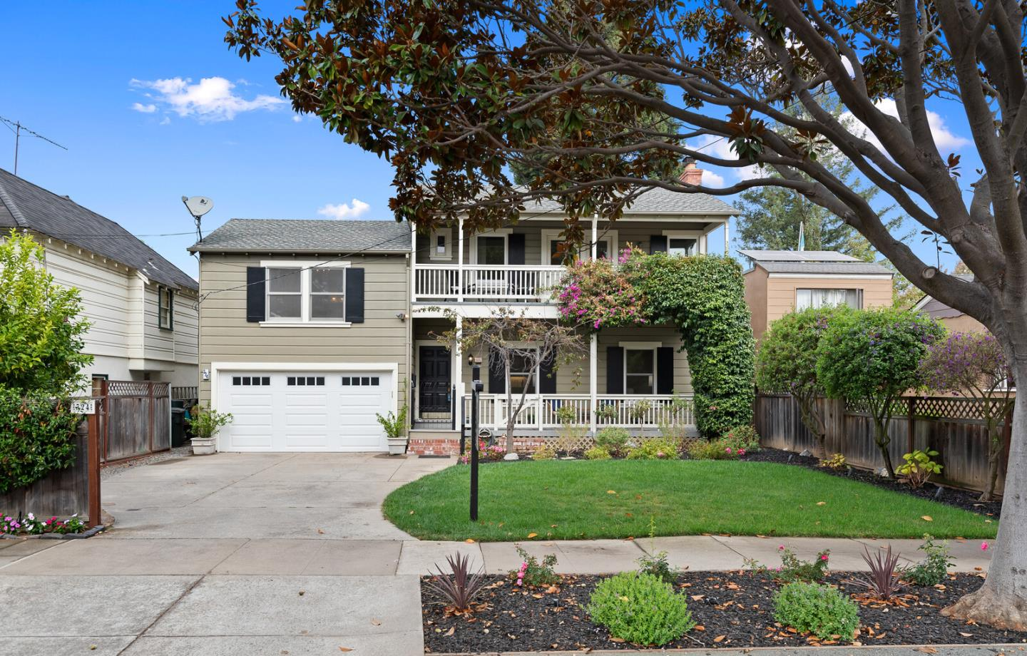"Charming detail and beautiful remodeling combine in this gorgeous Colonial-style home on a tree-lined street in Burlingame's favored ""Burlingables"" neighborhood. Just a short distance away from downtown Burlingame and the soon-to-be reimagined Burlingame Rec Center, this home boasts 3BR/2.5BA plus office. Entry opens to living room featuring hardwood flooring, barreled ceiling, & wood-burning fireplace. Beyond is an open family room with vaulted ceiling opening to a beautifully remodeled kitchen featuring center island, breakfast bar, and adjacent laundry rm. Half bath off the family room. Easy access to large, tranquil rear patio is provided through the laundry room. Upstairs features a large master with vaulted ceiling, loads of light streaming in through large windows, master bath with dual sinks and shower over tub. The two additional bedrooms share a hall bath, and both have access to balcony. Additional office room could be used as an optional 4th BR"