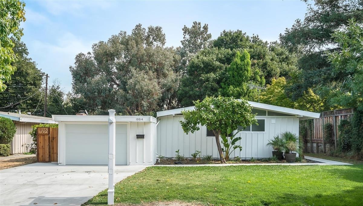 Welcome Home to 10614 Sterling Blvd, this newly remodeled home features 3 bedrooms, 2 full bathrooms. Freshly painted inside/out, new double pane windows, doors, floors and bathrooms. Living room with fireplace, adjacent dining area and large family room overlooking the park-like backyard. Kitchen with granite countertops, gas stove, refrigerator and microwave. Primary bedroom with new carpet and remodeled ensuite bathroom with new tile floors, vanity and fixtures. Remodeled hall bathroom with new tile floors, vanity and fixtures, new split A/C, one car garage with new automatic garage door, concrete driveway and walkway. Award winning Cupertino Schools: Sedgwick Elementary, Hyde Middle and Cupertino High. Close to Rancho Rinconada Recreation Center, 5 minute drive to Apple's Spaceship campus and Main Street Cupertino's shops and restaurants. Easy access to highway 280 & Lawrence Expy, nearby Kaiser Hospital, LinkedIn, Facebook, Google, and other Tech companies',Santana Row/Valley Fair