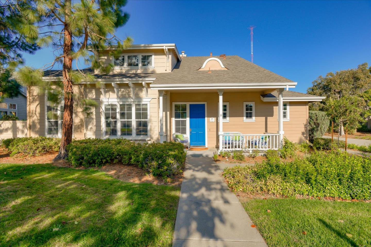 Sought-after Seabrook plan in Gossamer Cove, w/4 bdrms & 3 full baths painted w/sunshine & snuggled in a choice setting. You'll love the welcoming front porch, 2 gar attached garage w/car length driveway all on a sizeable corner lot: 6,091 sf.-one of the largest in the community. You'll appreciate a full bedroom & a full bathroom on the first floor. This home was a former builder model & features special touches like custom window coverings & valances, living room w/gracious formality, & dining room w/high ceilings. A separate family room features a built-in media center, & separate work desk. Gourmet kitchen offers a slab granite counter & full backsplash,  upgraded cabinets, Broan exhaust, 5-burner cooktop, tile floors, master chef island & more.  Double door entry to the spacious master bedroom w/separate retreat area, tub w/jets, stall shower and custom tile with inlets. Low maintenance rear yard ideal for entertaining. Don't miss the separate laundry room.