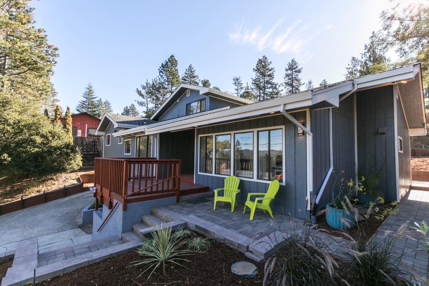 Sparkling contemporary home with loads of natural light, views and style! Located in Scotts Valley, perched on a knoll with a view, this home has been updated and refreshed top to bottom. The large Family room with vaulted ceilings and fireplace opens on to the backyard and the bright kitchen with quartz counters, island and bar. The dining room has a killer view to the north of the Santa Cruz Mountains in the distance. There are 3 bedrooms on the ground floor and 2 bathrooms. The Master is perched upstairs with amazing views to the north and south. Master bathroom is clean and bright has been refreshed and updated. There are decks and patios that surround the home with plenty of room for a sunny south facing garden. This home is ready to move in and enjoy! Take advantage of the Scotts Valley lifestyle with easy acces to Beaches and Silicon Valley and a revered school system.