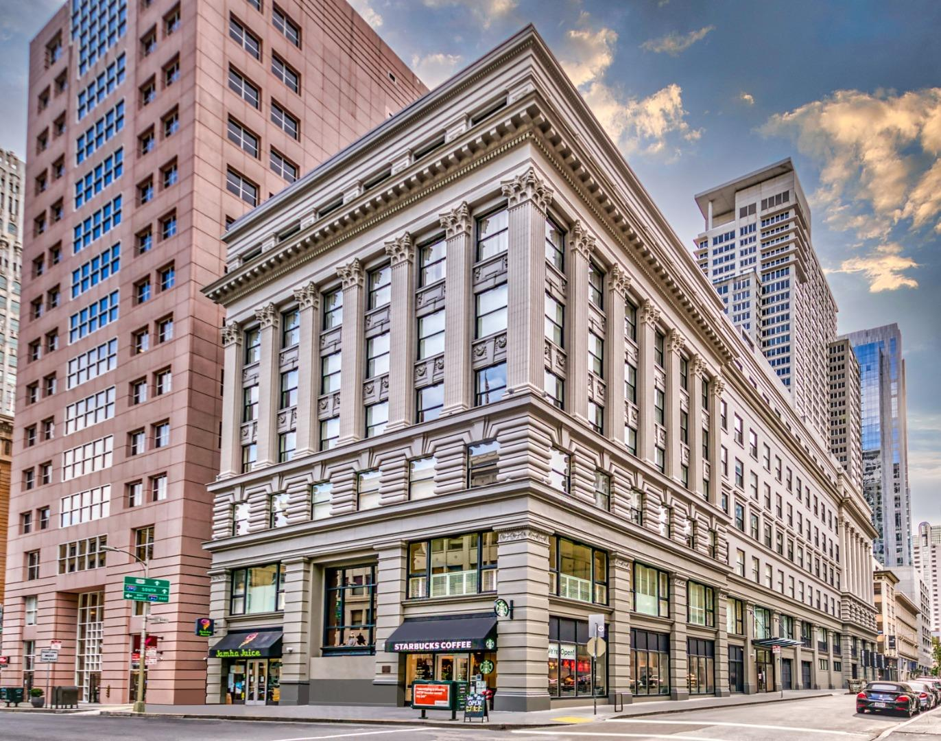 Rarely Available Condo in the Montgomery   Situated between SoMa and the Financial District, this modern studio combines sleek elegance, historic flair, and quick access to many of San Francisco's top landmarks. Topped by high ceilings, the condo boasts teak cabinetry, Bosch appliances, granite countertops, and an exquisite view of the Palace Hotel. Includes in-unit laundry, a generous storage locker, and access to a rooftop deck with barbecue and breathtaking city views. Established in 1914 and designed by some of the city's most prolific architects, The Montgomery has been retrofitted and remodeled to today's luxury standards, offering features like 24/7 security, a doorperson, and full concierge service. With a Transit Score of 100 and a Walk Score of 98, this prized location is moments away from BART, Muni, Union Square, and more, providing a rare opportunity to enjoy San Francisco living at its finest.