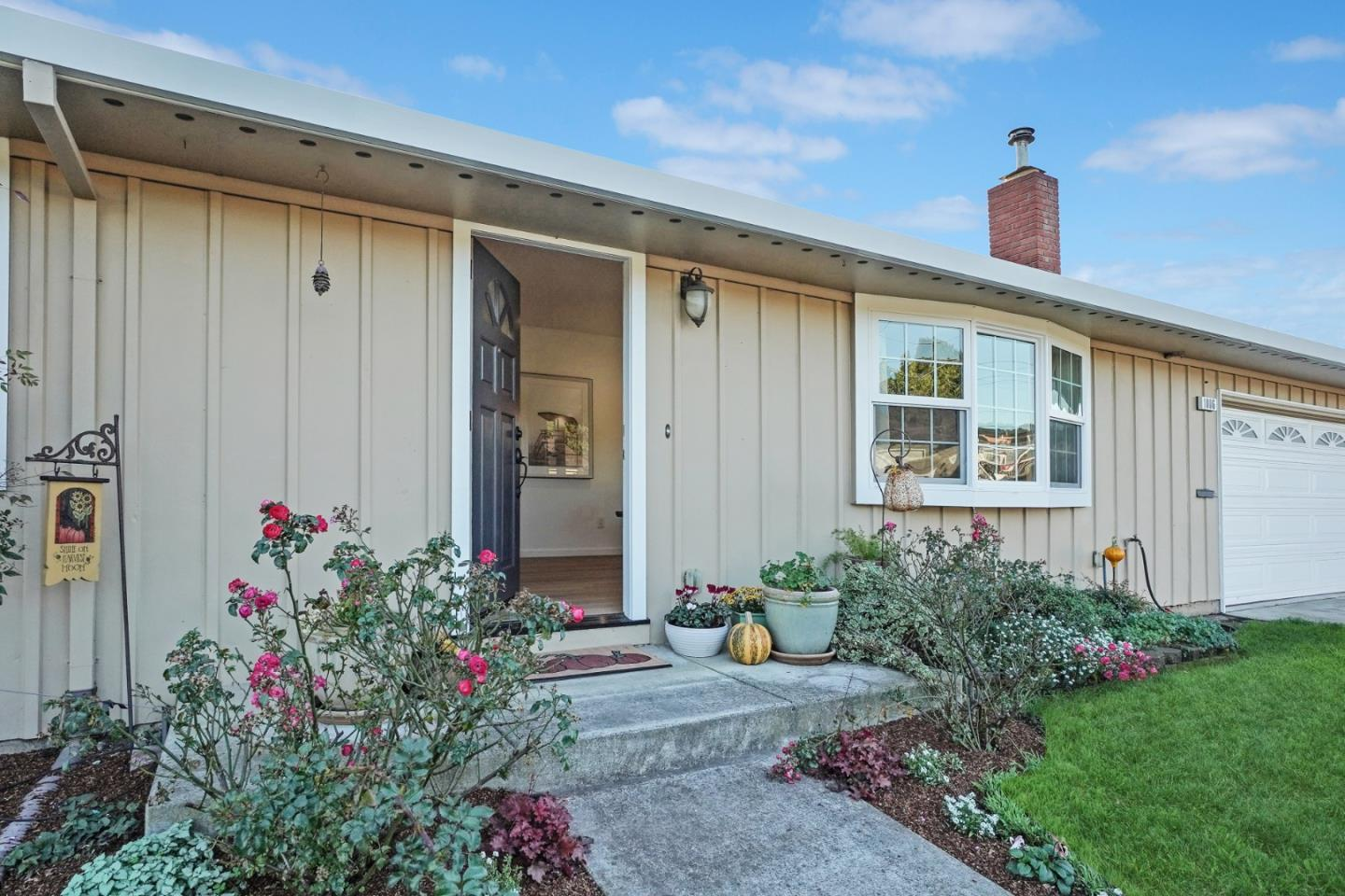 Beautifully remodeled home in a quiet coastal neighborhood features 3 bedrooms 2 baths & 1,240+/- square feet of living space. Open concept home has wide wood plank flooring throughout the kitchen,living area,& master bedroom. The eat-in kitchen is open to the living area & features a center island. There is a beautiful glass-paned door to the back garden making outdoor entertaining a breeze,or just some relaxing time in the hot tub.Side yard would have room for RV parking or?? The living room has a bay window and a pellet stove with built-in shelving units on either side.The two guest bedrooms have new carpet, one features a closet with a built-in unit that has a drop-down desk the other guest bedroom has a walk-in closet.The spacious master bedroom situated at the end of the hallway has an en-suite and a large walk-in closet.The two-car garage includes the laundry area & has plenty of storage.The location of this home is close to downtown Half Moon Bay,beaches, & the coastal trail.