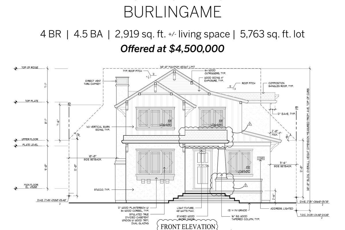 Detail Gallery Image 1 of 1 For 1445 Balboa Ave, Burlingame,  CA 94010 - 4 Beds | 4/1 Baths