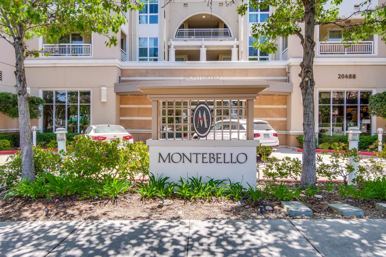 Welcome to this outstanding luxury Montebello condo nestled in prime sought-after Silicon neighborhood offers top Cupertino schools. This stunning home is within close proximity to Apple Park, Cupertino Main Street, library, restaurants, civic center, groceries, shopping parks and easy commutes to local employers. Private security gate access leads to a spacious, open floor plan. Elegant, spacious living room with generous picture windows, access to the balcony with storage  closet. Chef kitchen is complete with granite counter tops, recess lightings, breakfast bar, gas cooktops, microwave, plenty of storage cabinetry, and tile flooring. Spacious master bedroom boasts a walk-in closet, large windows. Bathroom with tiled tub/shower enclosures and tile flooring. Inside laundry area with storage cabinets. Complex amenities:underground parking with elevators, club house with fireplace and kitchen great for social gatherings, fitness center, gated pool, hot tub. https://tinyurl.com/yauvyc75