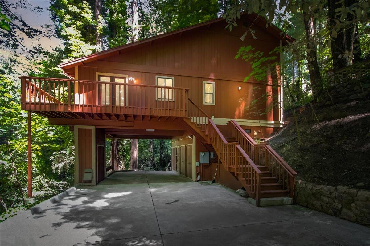 Welcome to your own private retreat in the redwoods! This completely remodeled 3 bedrooms/3-bathroom home encompasses the best of modern living. An open concept main living space offers a view of the redwoods and access to the property's decks, making this a perfect home for family or entertaining. The gourmet kitchen features stainless steel appliances, modern stone countertops, custom cabinets and an island/breakfast bar. Upstairs is a large, updated master suite with walk in closet, large tub, dual vanity sink and separate tiled walk-in shower. Downstairs 2 more generously sized bedrooms and bathrooms round out the main floor of this great residence. Enjoy the freedom and serenity of multiple outdoor patio areas/decks amongst the soaring redwood trees. Conveniently located near Alice's restaurant, with a short drive to Woodside, 280, Stanford and downtown Palo Alto!