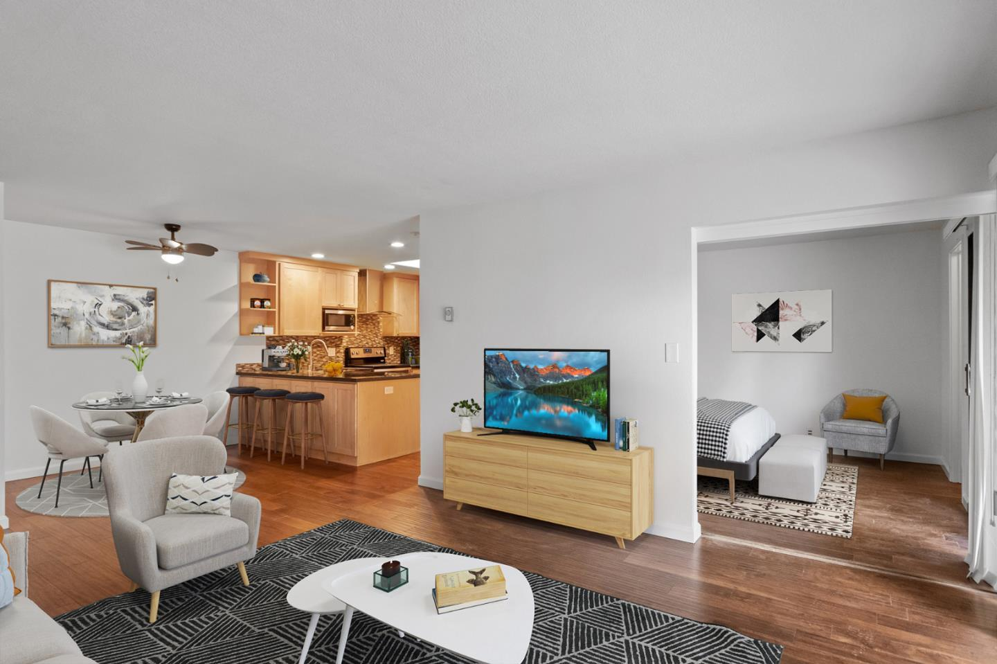 """Stunning remodel in 2016 - enjoy active living in a rarely available, bright, sunny, highly sought after """"penthouse"""" unit in building """"A"""" at Menlo Commons, an active 55+ adult community. A302 is a top flr 2-bed (with walk-in closets), 2-bath condo in the best 22-unit building with natural light through skylights/sliding glass doors, hardwood floors, free-flowing open kitchen (granite counters/stainless steel appliances), dining & living space, 2 private balconies/patios, main patio off of living room has exterior walk-in storage. Additional attic storage accessible from walk-in closets in bedrooms. This 122-unit complex has lush green landscaping, a heated pool, club room, gazebo, spa, exercise room, and is close to Stanford University & Hospital, Stanford Mall, Sharon Heights shopping, transportation and easy access to I-280. HOA dues include basic cable/phone service, water, garbage. HOA requires that at least one resident must be 55+. Use lockbox or call Agent for a private showing."""