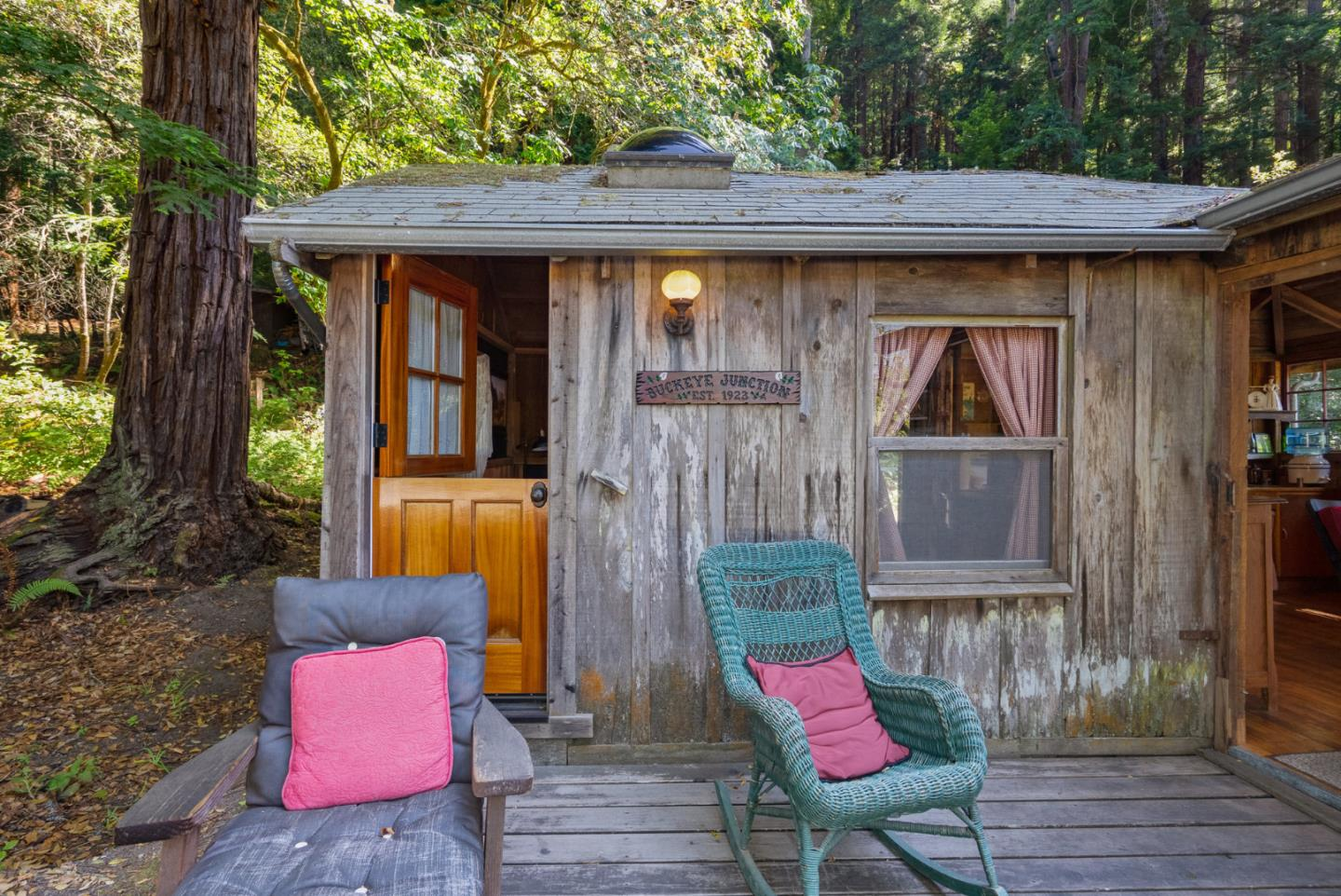 This is a sweet cabin built circa 1923. Sellers are ready to let another family enjoy this magical setting. The cabin has about 480 square feet, 1 bed, 1 bath and boasts 0.47 acres. Behind the cabin is the 600 acre Pesky Ranch with a POST conservation easement preventing any building or logging & providing sanctuary for lots of wildlife. Watch the sun dance across the neighbor's meadows. Tree species include shreve oaks, tan oak, coast live oak, willow, buckeye, hazelnut, firs and majestic redwoods, all inviting dozens of types of birds. The original builder lived here for years, using redwood board and batten siding & framing lumber harvested from the immediate area.  Rustic at the core, there are many conveniences. like the new bathroom with stackable washer and dryer, engineered flooring and insulation!  This is a perfect getaway, with coastal and state park access within minutes. They love the place so much, the sellers would like right of first refusal if YOU ever choose to sell!.