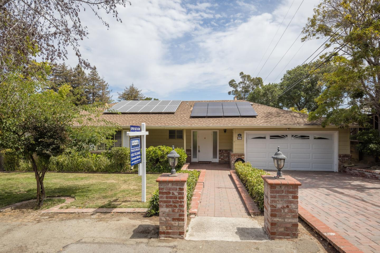Prime Baywood Highlands location - adjacent to Hillsborough!  Three Bedrooms, 3 bath ranch-stye home situated on a mostly level 12,000 square foot flat lot!  Home is surrounded by a beautiful in-ground fiberglass pool, mature trees, plants, and shrubs.  Inviting living room/dining room with picture windows and floor to ceiling brick fireplace.  Hardwood floors throughout.  The all-electric eat-in kitchen features custom wood cabinetry and bamboo floors and leads to a wood deck.  This home has lots of potential!  Don't miss the Bonus Room close to the pool which has a full bath and central heating.  The home comes with solar roof panels, two car attached garage, and side access to the Bonus Room.  Minutes from highly-rated schools, and minutes from downtown San Mateo shops, restaurants, and Central Park.  A must-see!